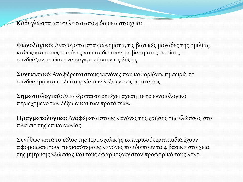 Κάθε γλώσσα αποτελείται από 4 δομικά στοιχεία: