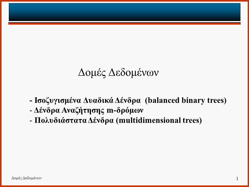 Δομές Δεδομένων - Ισοζυγισμένα Δυαδικά Δένδρα (balanced binary trees)