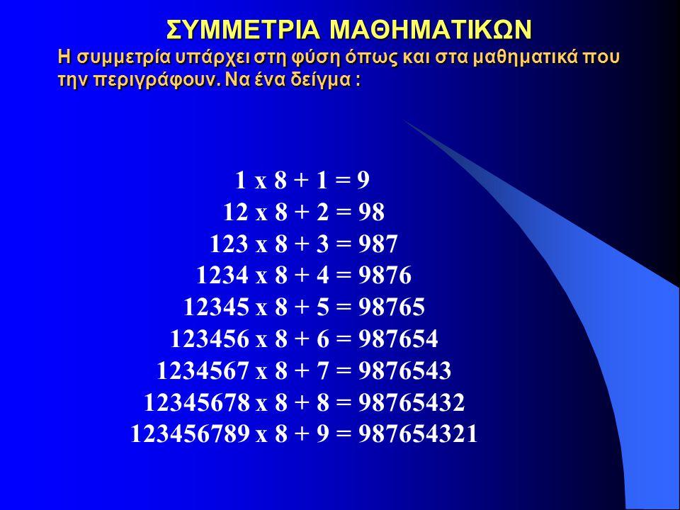 ΣΥΜΜΕΤΡΙΑ ΜΑΘΗΜΑΤΙΚΩΝ Η συμμετρία υπάρχει στη φύση όπως και στα μαθηματικά που την περιγράφουν. Να ένα δείγμα :
