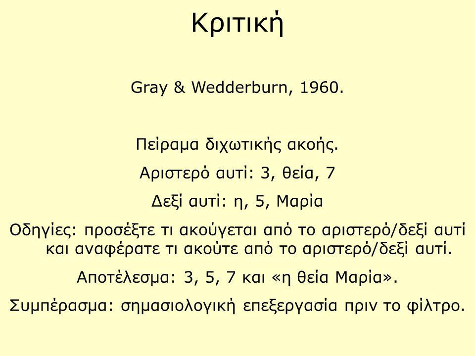 Κριτική Gray & Wedderburn, 1960. Πείραμα διχωτικής ακοής.