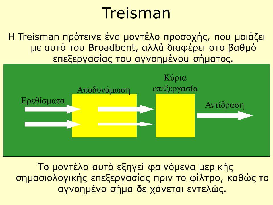 Treisman Η Treisman πρότεινε ένα μοντέλο προσοχής, που μοιάζει με αυτό του Broadbent, αλλά διαφέρει στο βαθμό επεξεργασίας του αγνοημένου σήματος.