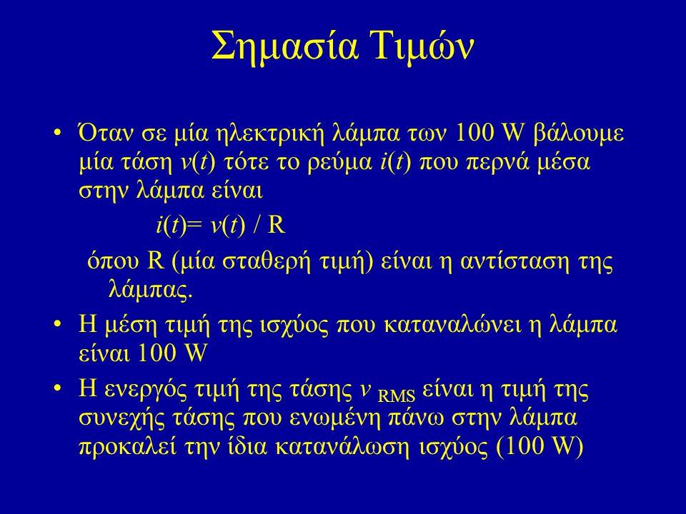 Σημασία Τιμών Όταν σε μία ηλεκτρική λάμπα των 100 W βάλουμε μία τάση ν(t) τότε το ρεύμα i(t) που περνά μέσα στην λάμπα είναι.