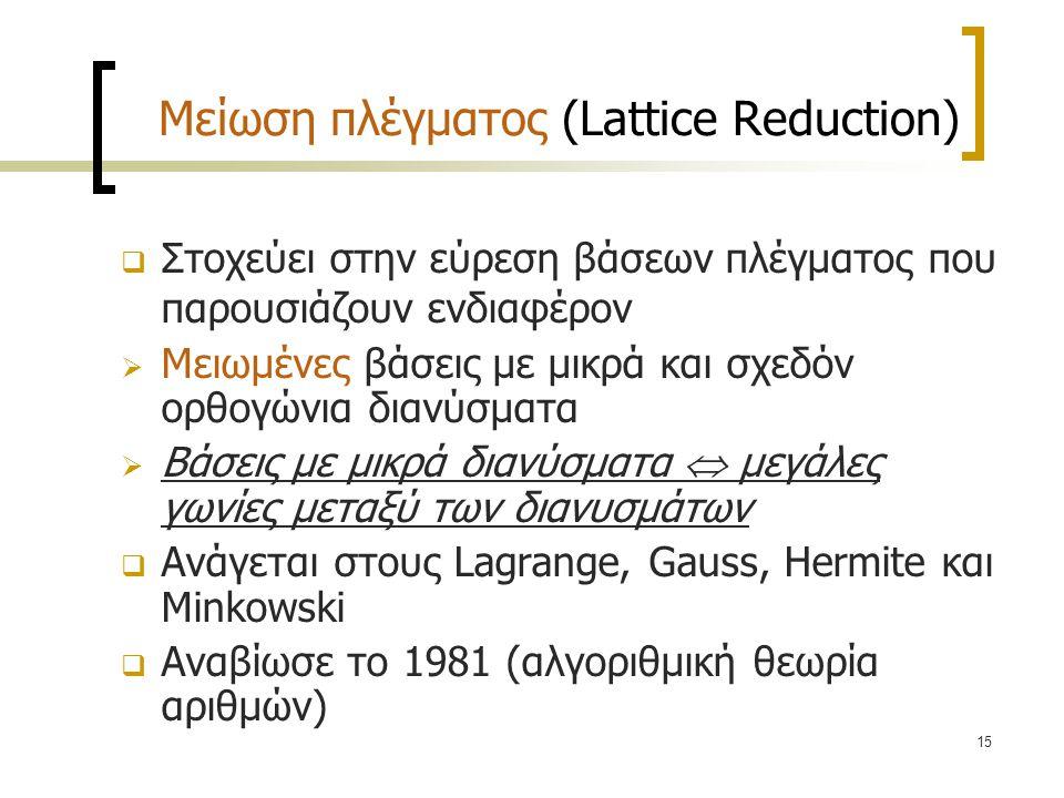 Μείωση πλέγματος (Lattice Reduction)