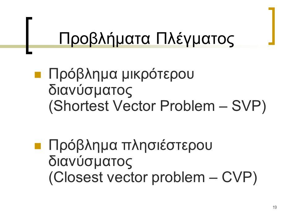 Προβλήματα Πλέγματος Πρόβλημα μικρότερου διανύσματος (Shortest Vector Problem – SVP)