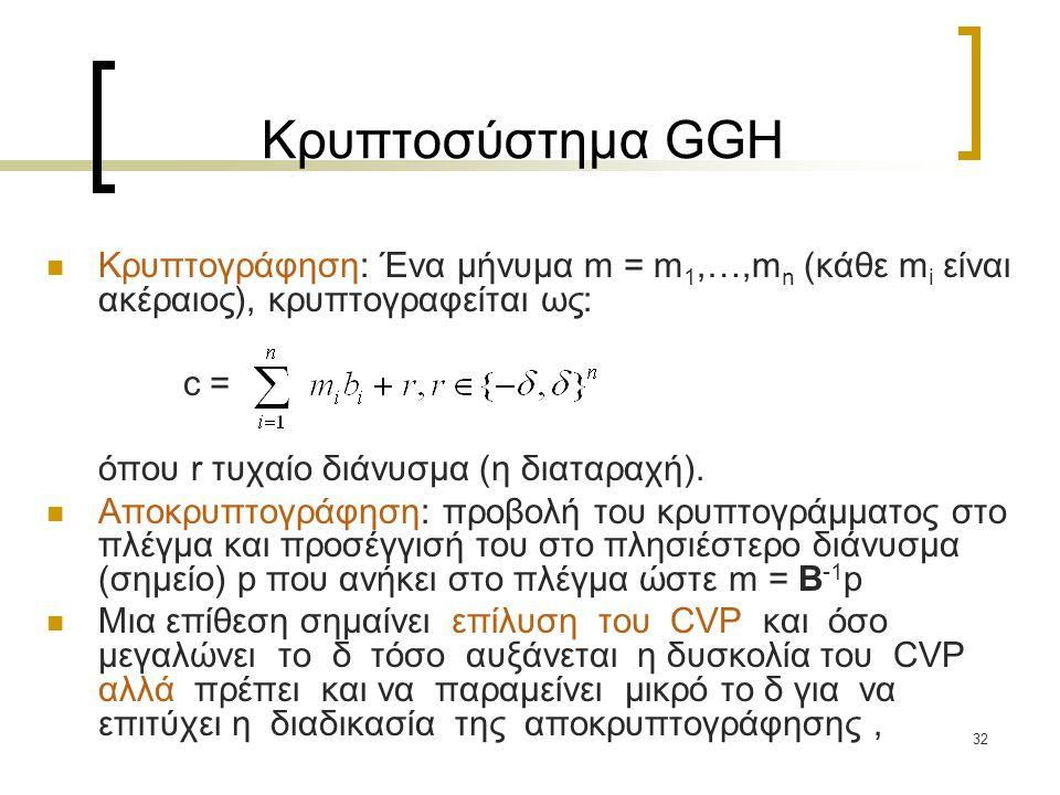 Κρυπτοσύστημα GGH Κρυπτογράφηση: Ένα μήνυμα m = m1,…,mn (κάθε mi είναι ακέραιος), κρυπτογραφείται ως: