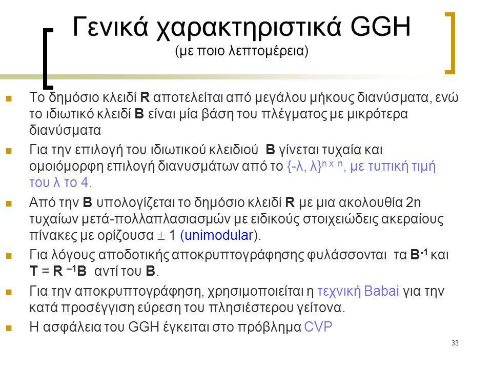 Γενικά χαρακτηριστικά GGH (με ποιο λεπτομέρεια)