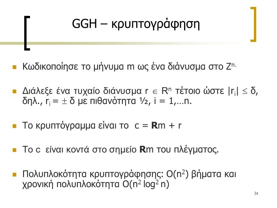 GGH – κρυπτογράφηση Κωδικοποίησε το μήνυμα m ως ένα διάνυσμα στο Ζn.