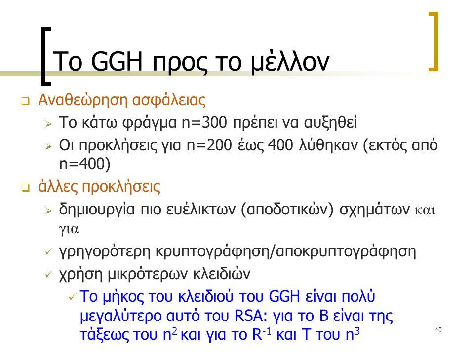 Το GGH προς το μέλλον Αναθεώρηση ασφάλειας