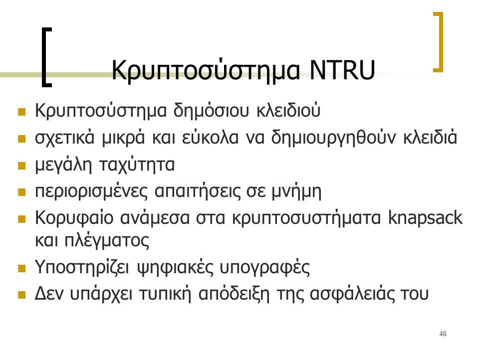 Κρυπτοσύστημα NTRU Κρυπτοσύστημα δημόσιου κλειδιού