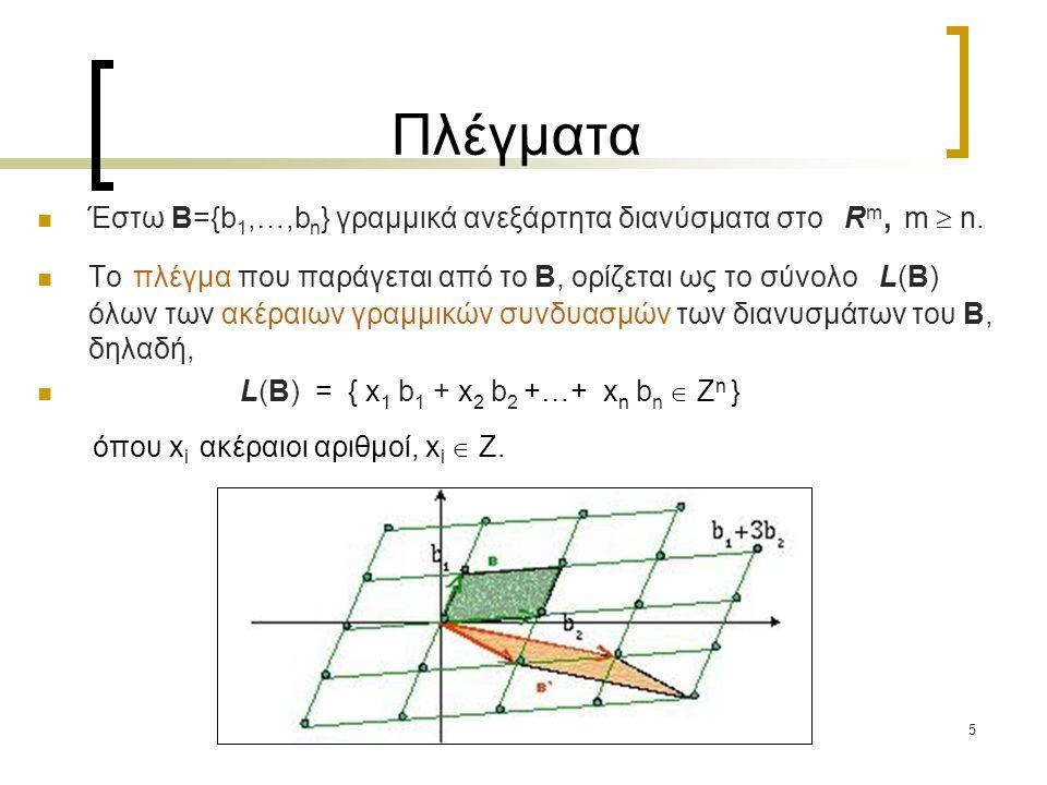 Πλέγματα Έστω B={b1,…,bn} γραμμικά ανεξάρτητα διανύσματα στο Rm, m  n.