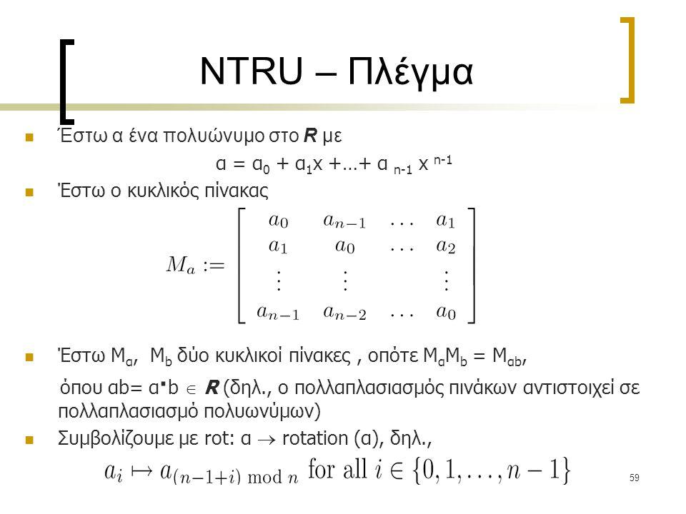 NTRU – Πλέγμα Έστω α ένα πολυώνυμο στο R με