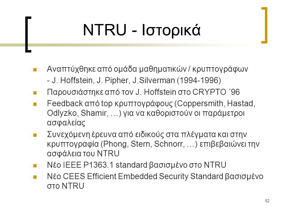 NTRU - Ιστορικά Αναπτύχθηκε από ομάδα μαθηματικών / κρυπτογράφων