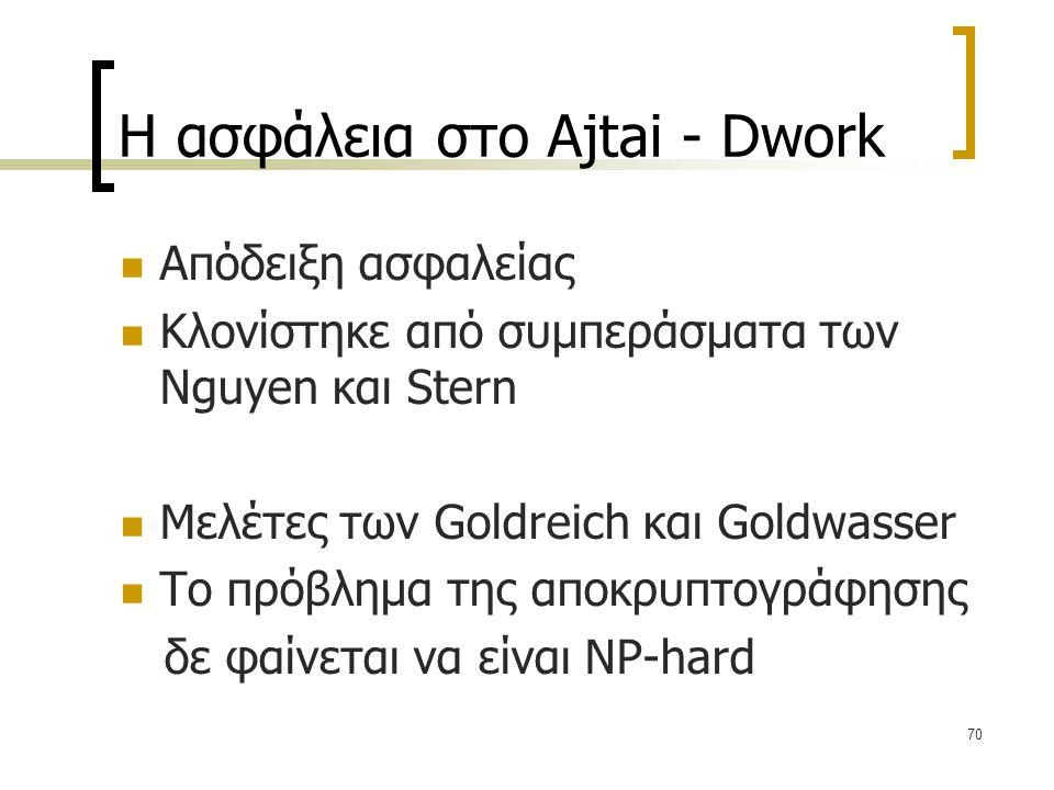 Η ασφάλεια στο Ajtai - Dwork