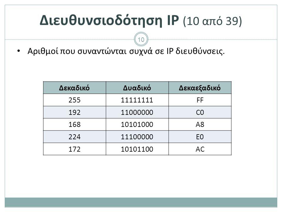 Διευθυνσιοδότηση IP (11 από 39)