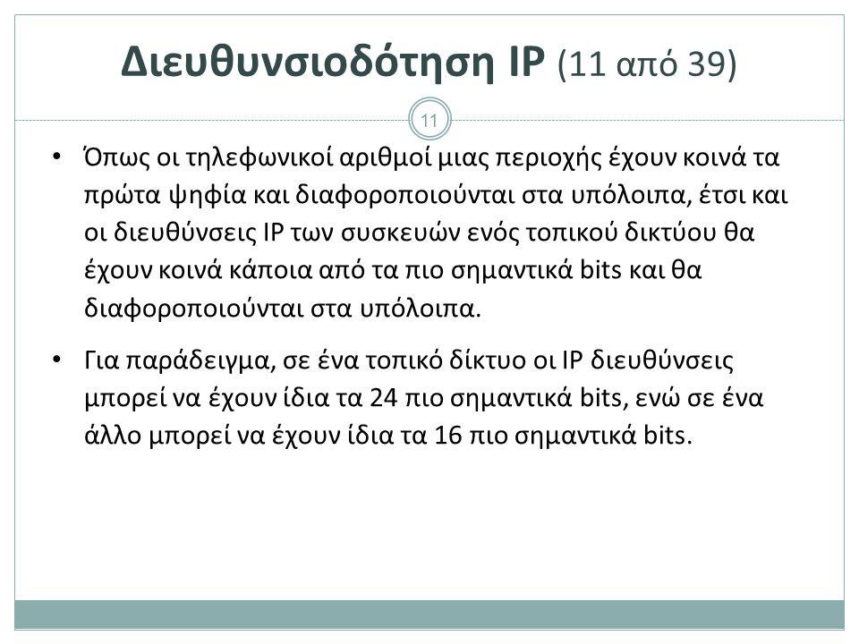 Διευθυνσιοδότηση IP (12 από 39)