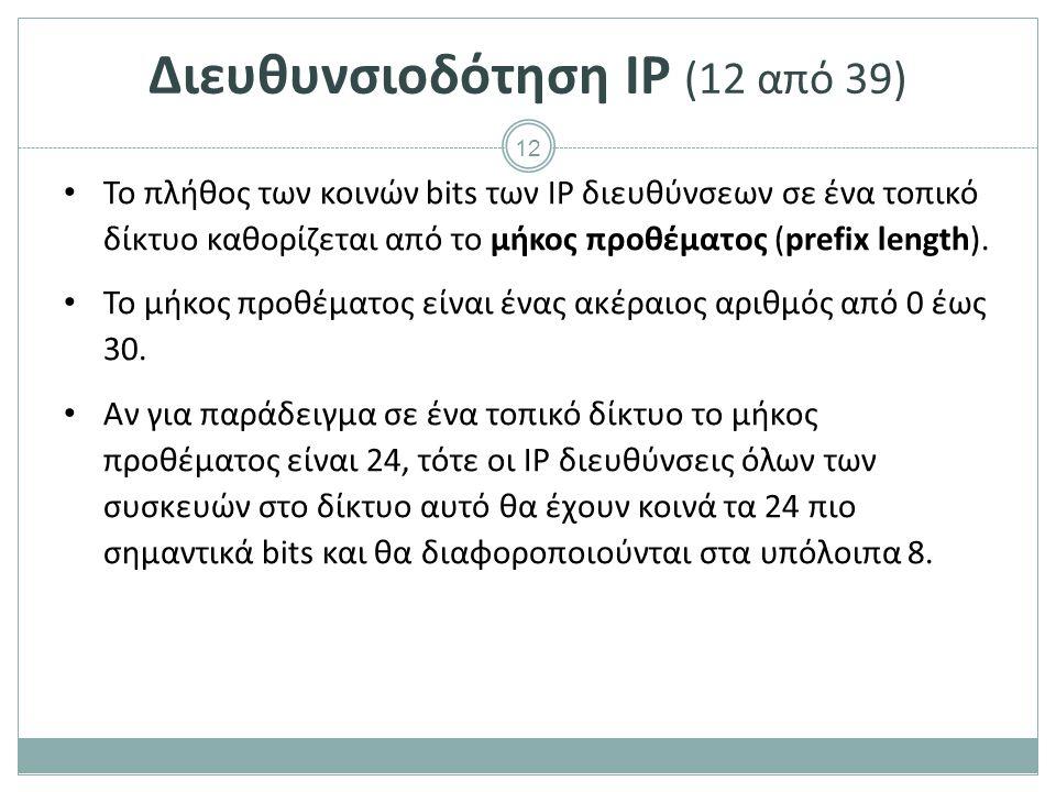 Διευθυνσιοδότηση IP (13 από 39)