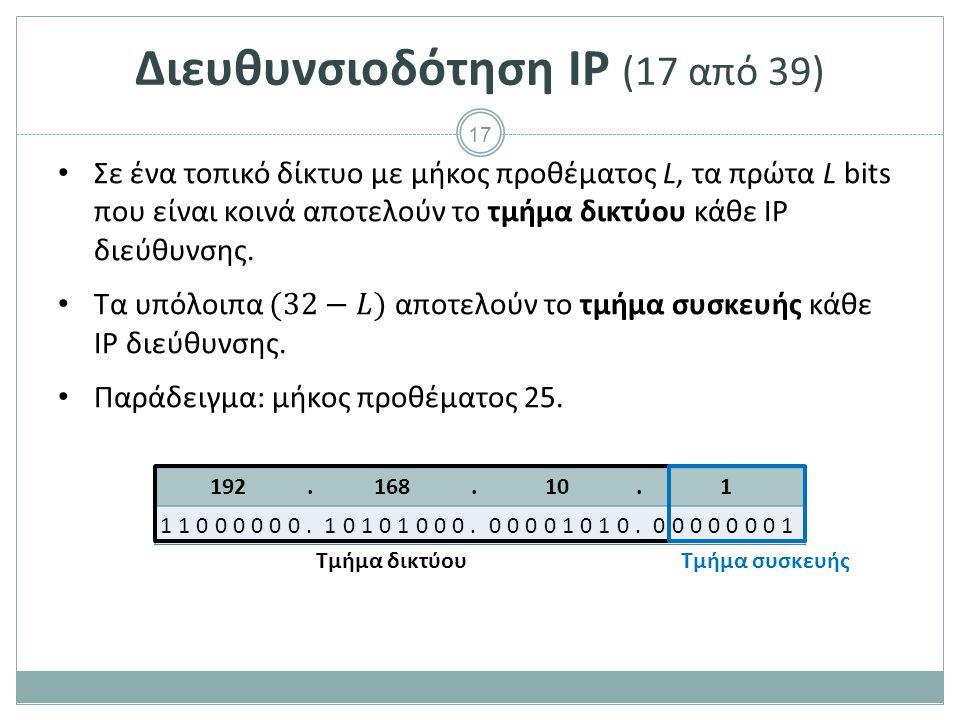 Διευθυνσιοδότηση IP (18 από 39)