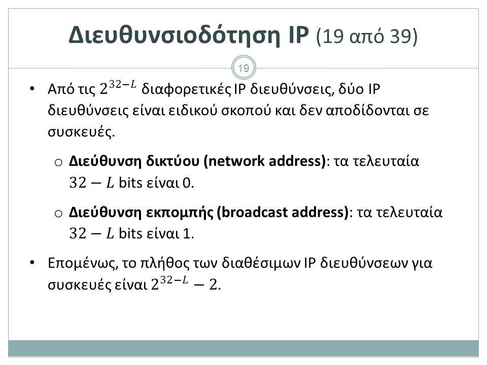 Διευθυνσιοδότηση IP (20 από 39)