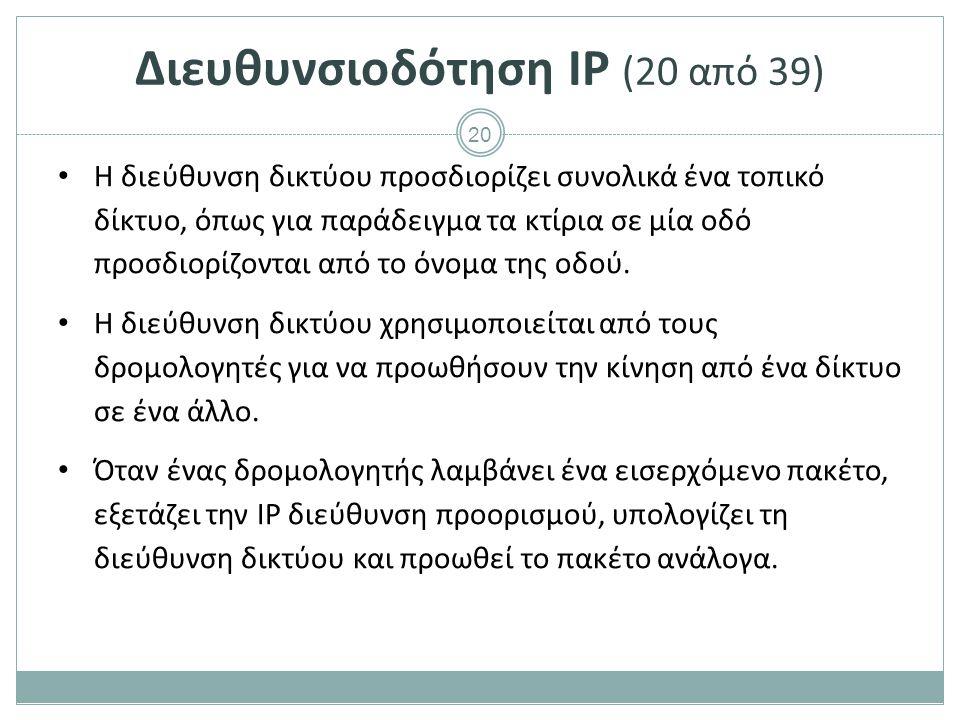 Διευθυνσιοδότηση IP (21 από 39)