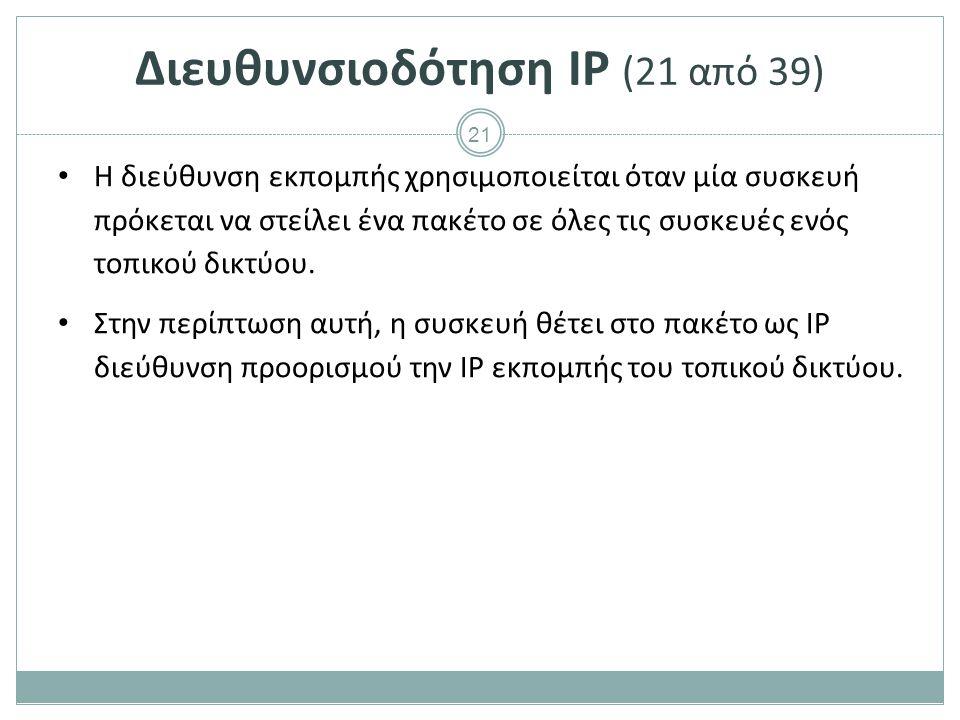Διευθυνσιοδότηση IP (22 από 39)