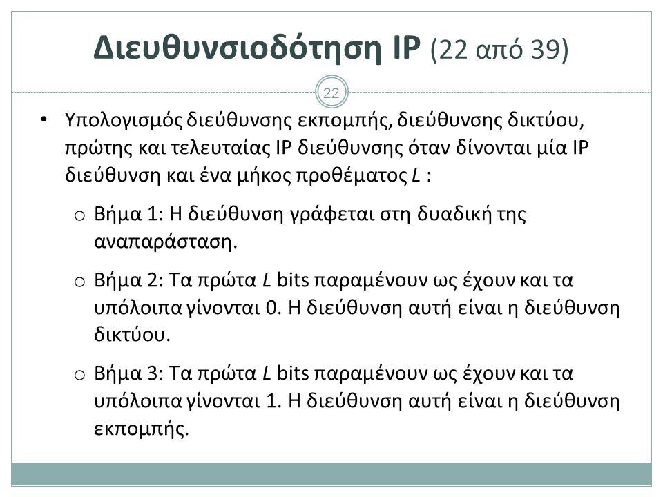 Διευθυνσιοδότηση IP (23 από 39)