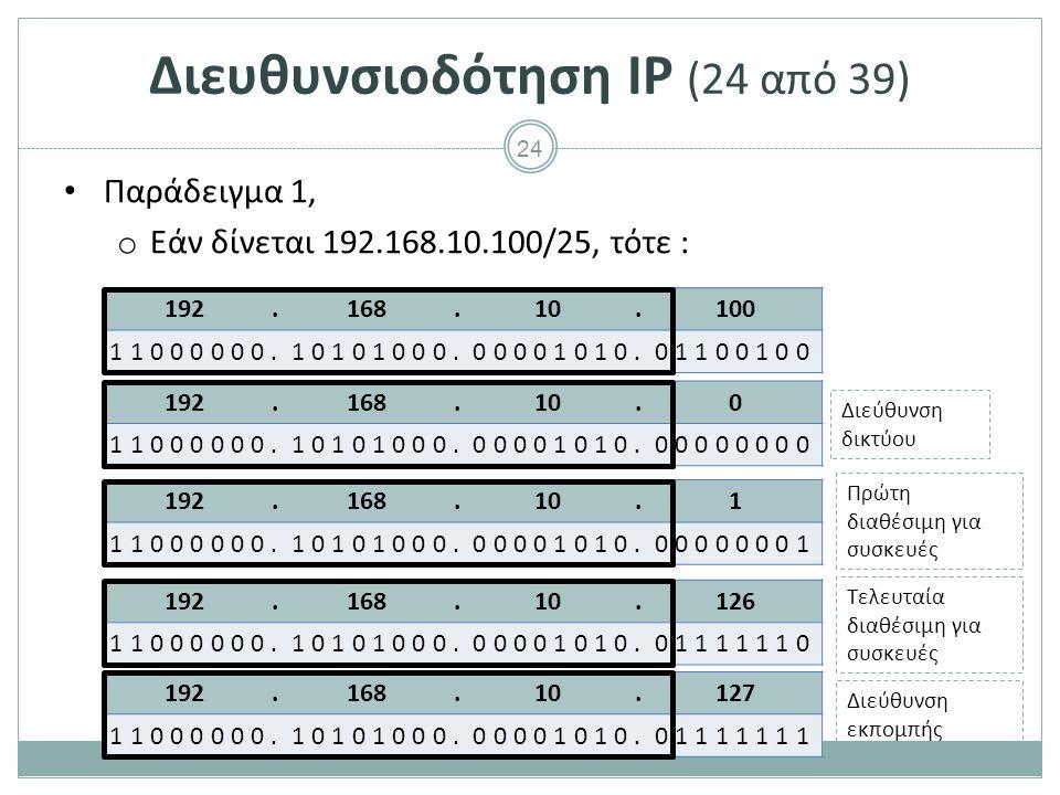 Διευθυνσιοδότηση IP (25 από 39)