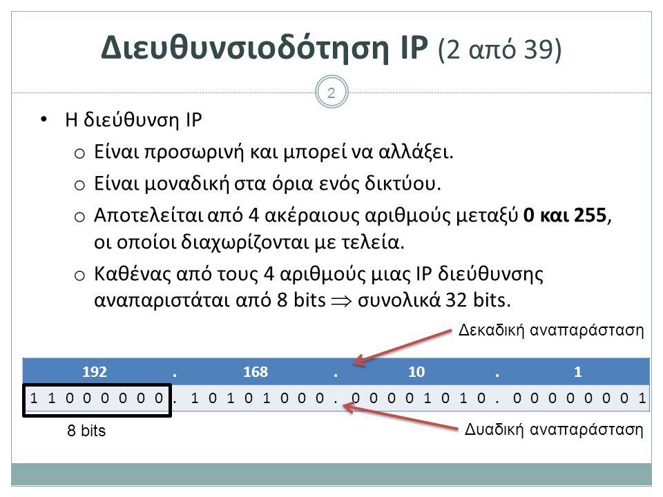 Διευθυνσιοδότηση IP (3 από 39)