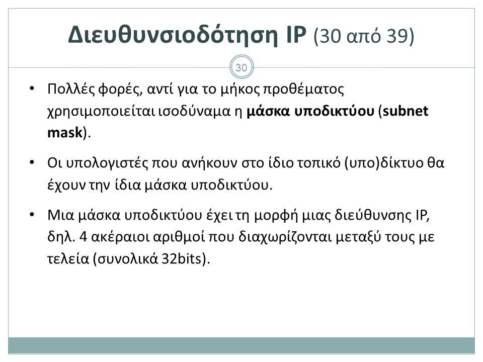 Διευθυνσιοδότηση IP (31 από 39)