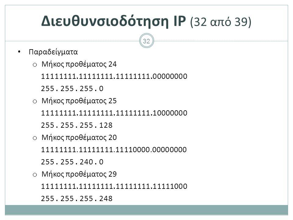 Διευθυνσιοδότηση IP (33 από 39)