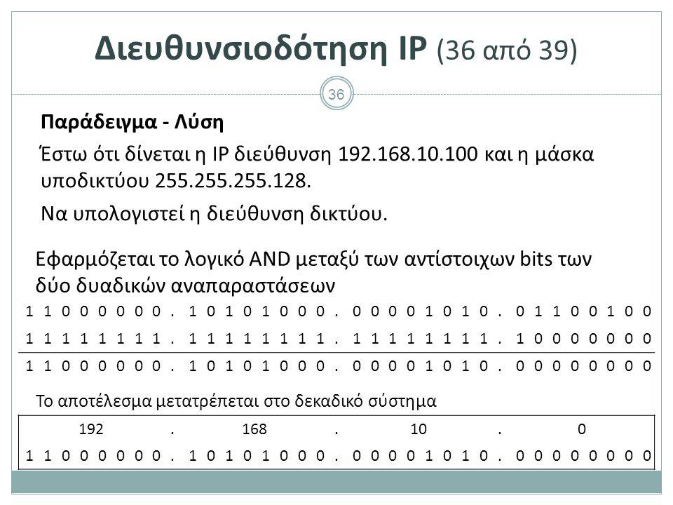 Διευθυνσιοδότηση IP (37 από 39)