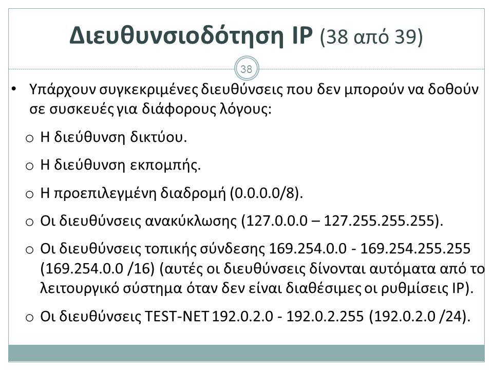 Διευθυνσιοδότηση IP (39 από 39)