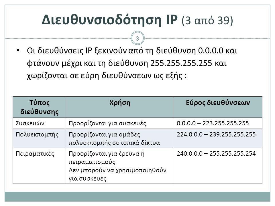 Διευθυνσιοδότηση IP (4 από 39)