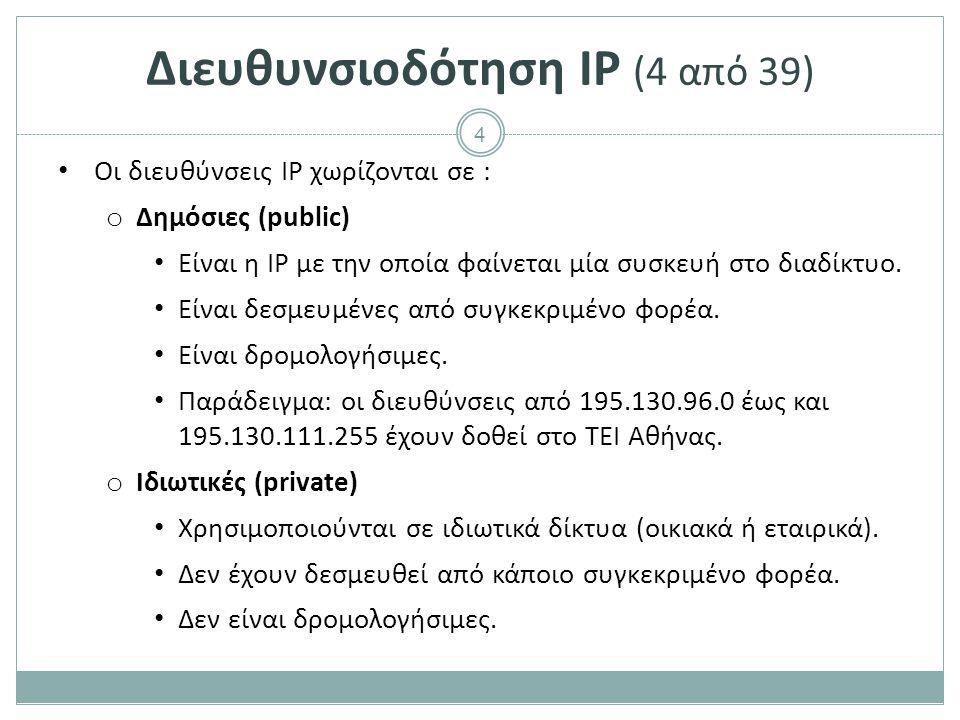 Διευθυνσιοδότηση IP (5 από 39)
