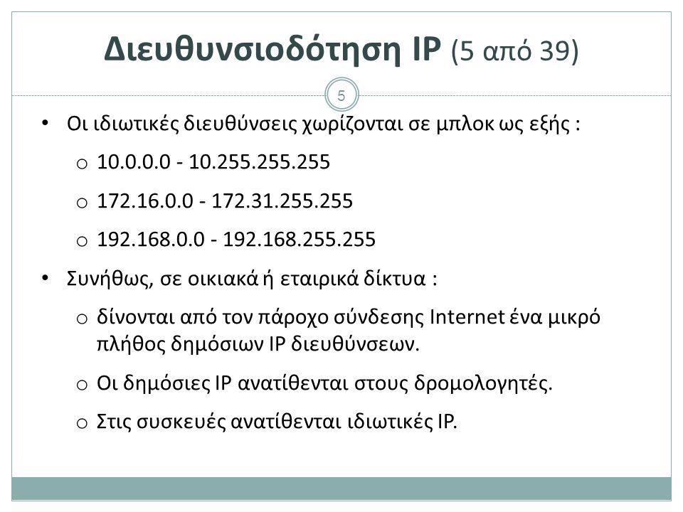 Διευθυνσιοδότηση IP (6 από 39)