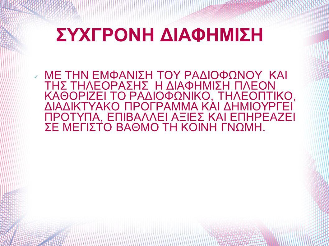 ΣΥΧΓΡΟΝΗ ΔΙΑΦΗΜΙΣΗ