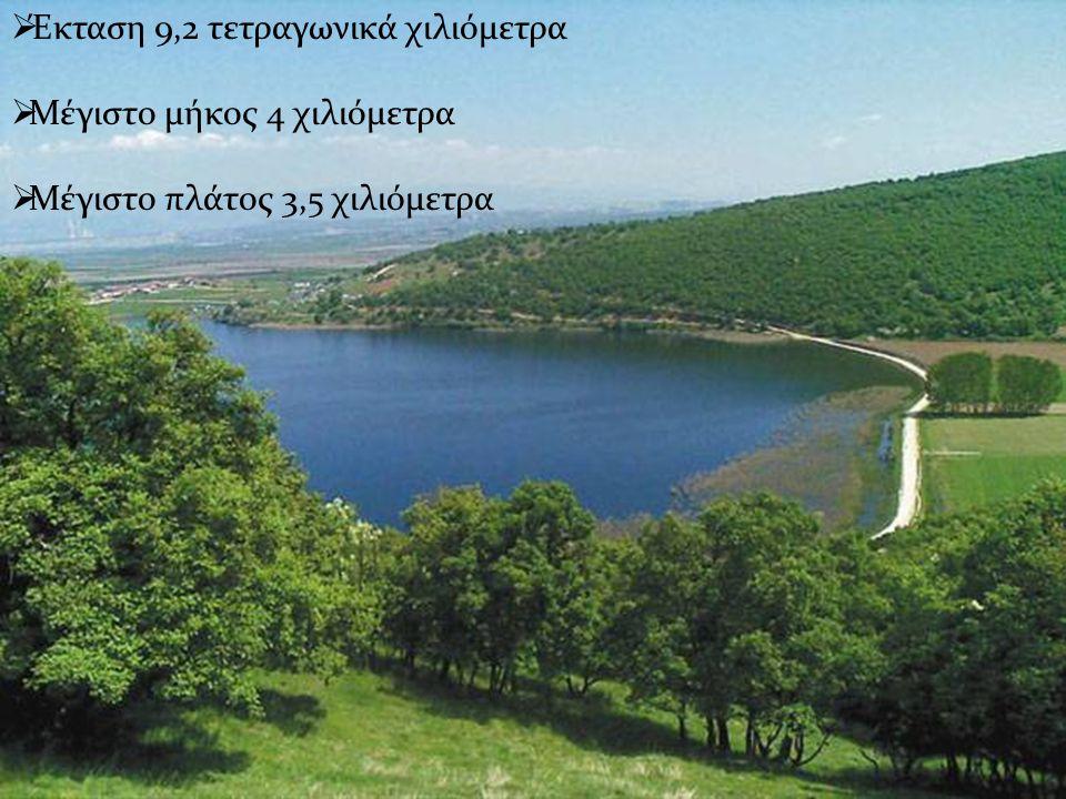 Έκταση 9,2 τετραγωνικά χιλιόμετρα Μέγιστο μήκος 4 χιλιόμετρα