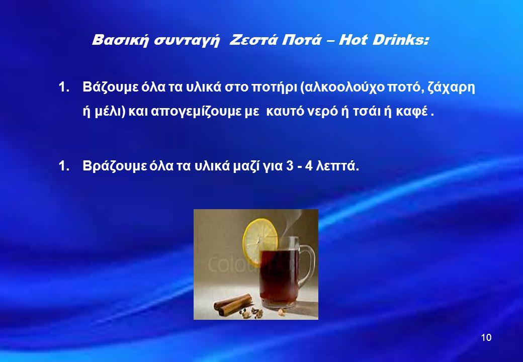 Βασική συνταγή Ζεστά Ποτά – Hot Drinks: