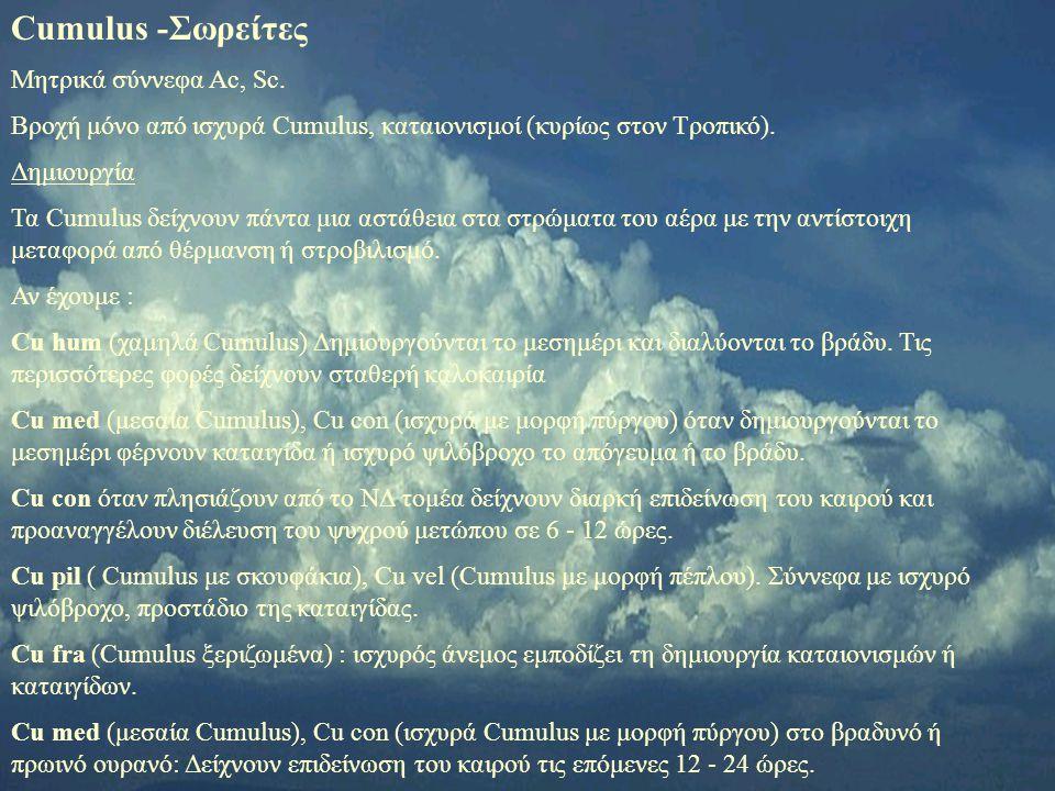 Cumulus -Σωρείτες Μητρικά σύννεφα Ac, Sc.