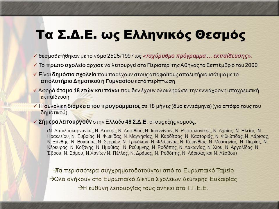 Τα Σ.Δ.Ε. ως Ελληνικός Θεσμός