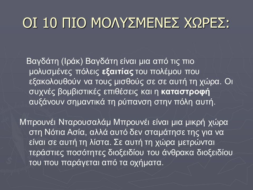 ΟΙ 10 ΠΙΟ ΜΟΛΥΣΜΕΝΕΣ ΧΩΡΕΣ: