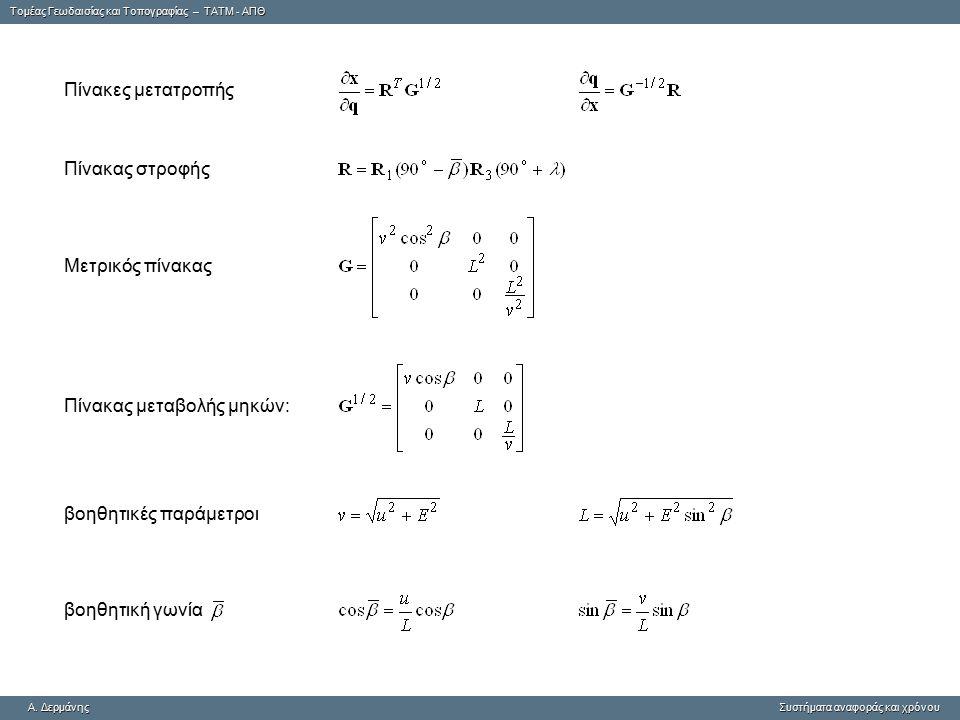 Πίνακες μετατροπής Πίνακας στροφής. Μετρικός πίνακας. Πίνακας μεταβολής μηκών: βοηθητικές παράμετροι.