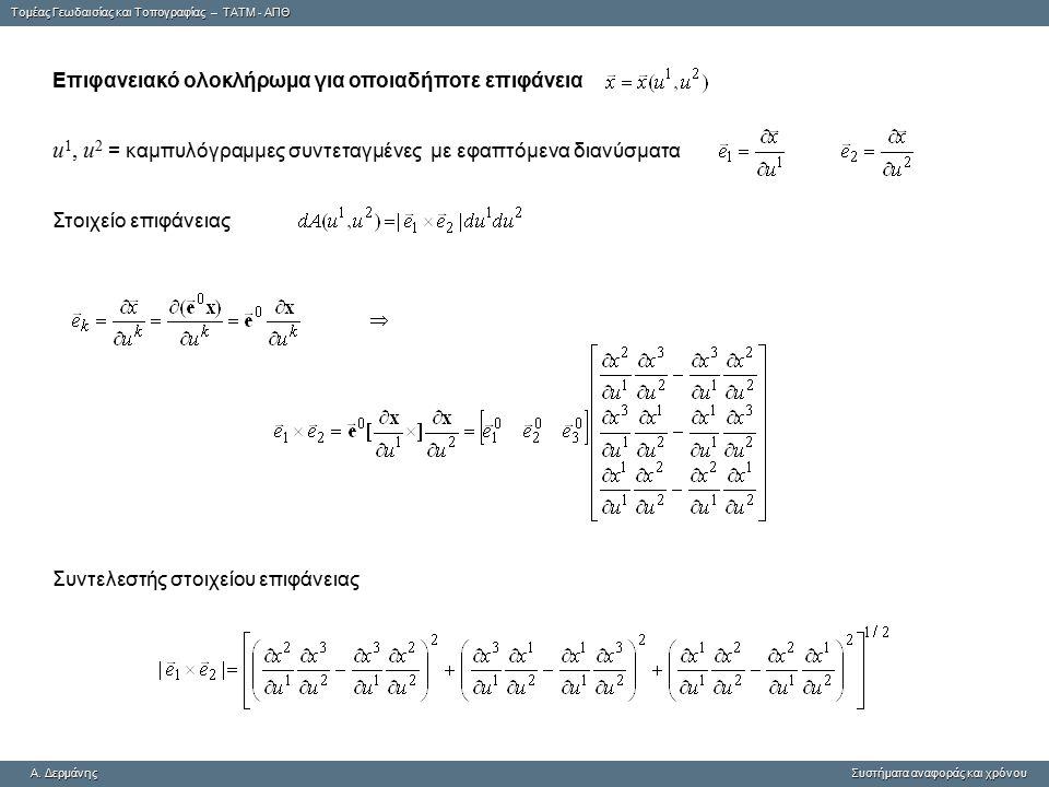 u1, u2 = καμπυλόγραμμες συντεταγμένες με εφαπτόμενα διανύσματα