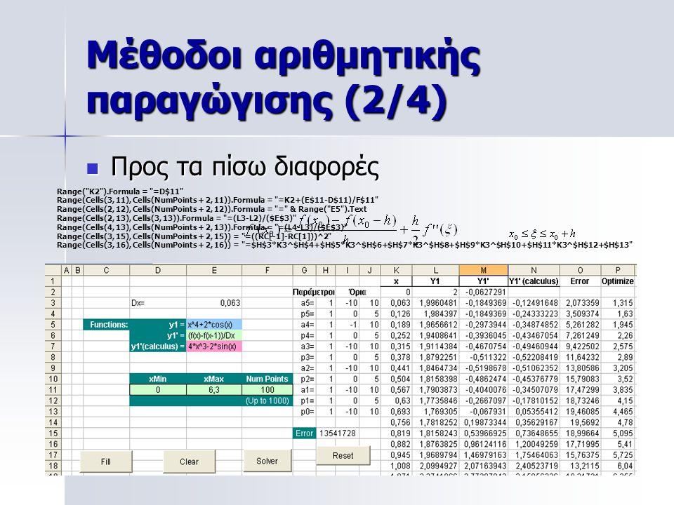 Μέθοδοι αριθμητικής παραγώγισης (2/4)