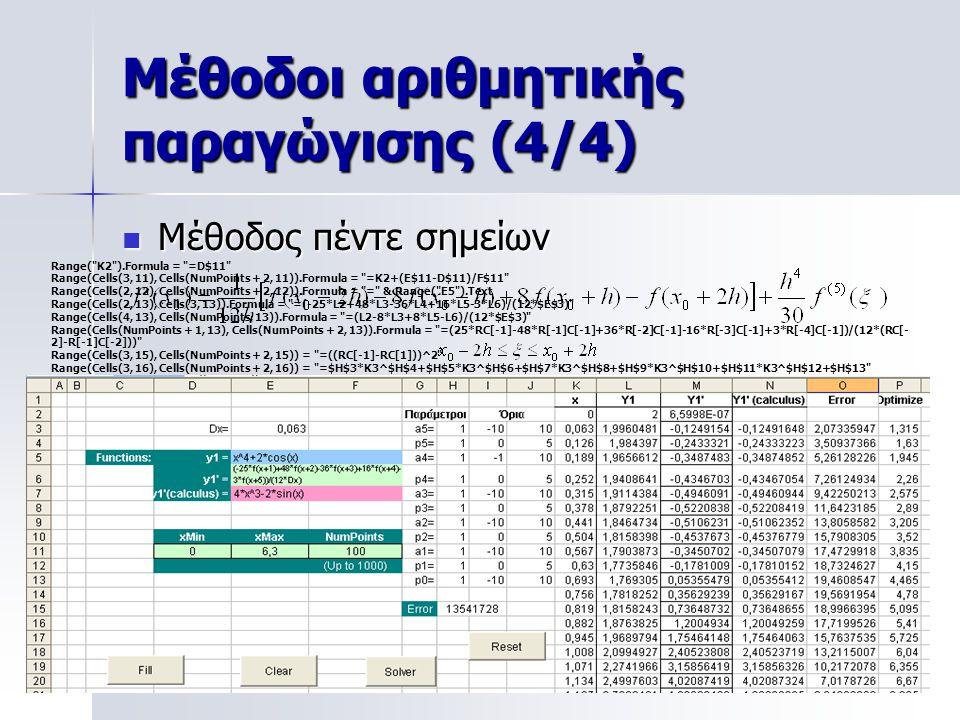 Μέθοδοι αριθμητικής παραγώγισης (4/4)