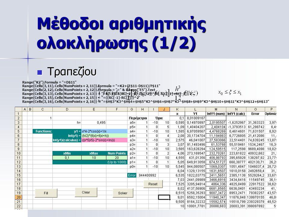 Μέθοδοι αριθμητικής ολοκλήρωσης (1/2)