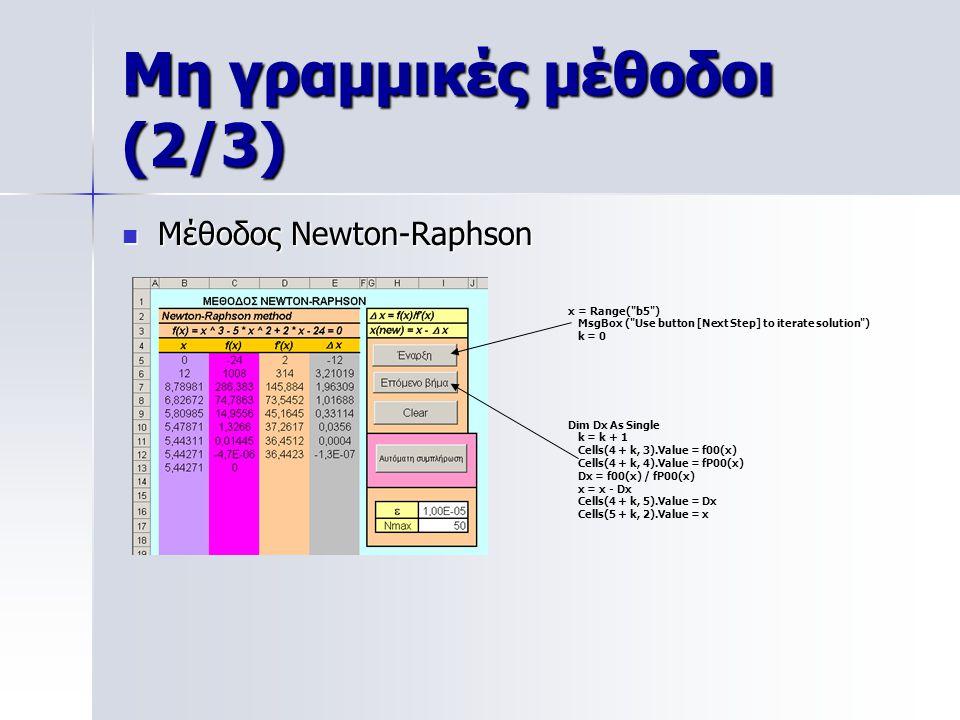 Μη γραμμικές μέθοδοι (2/3)