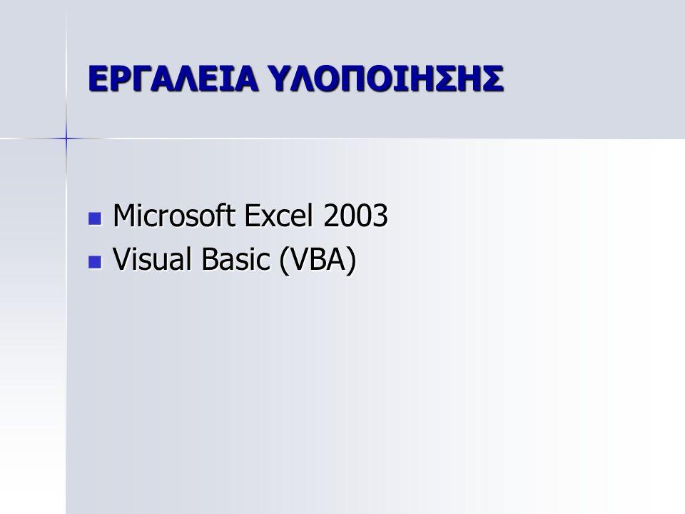 ΕΡΓΑΛΕΙΑ ΥΛΟΠΟΙΗΣΗΣ Microsoft Excel 2003 Visual Basic (VBA)