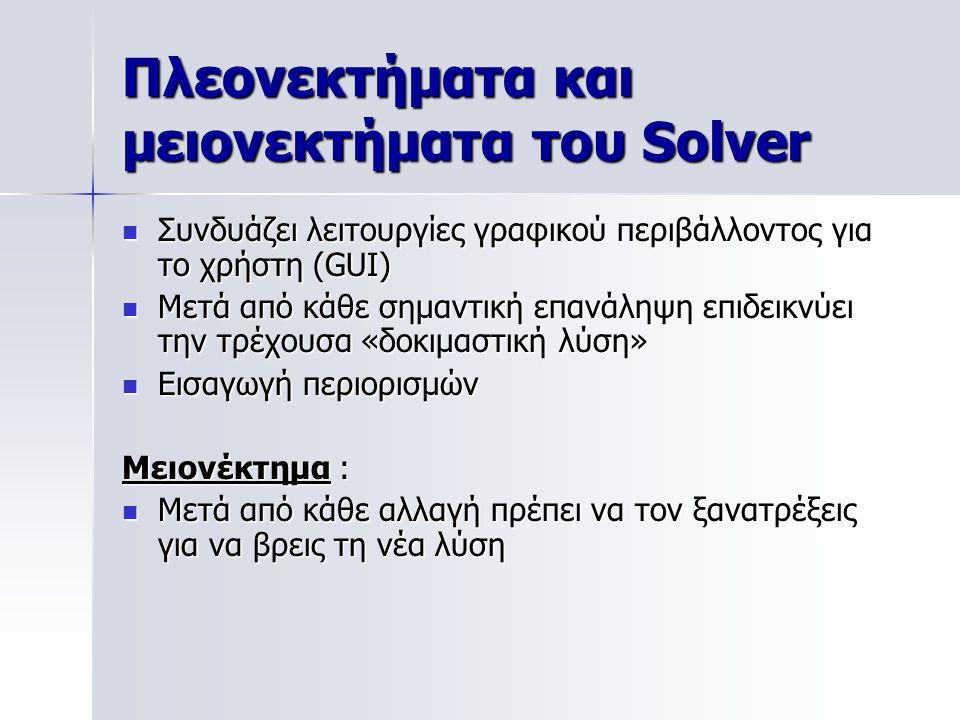 Πλεονεκτήματα και μειονεκτήματα του Solver