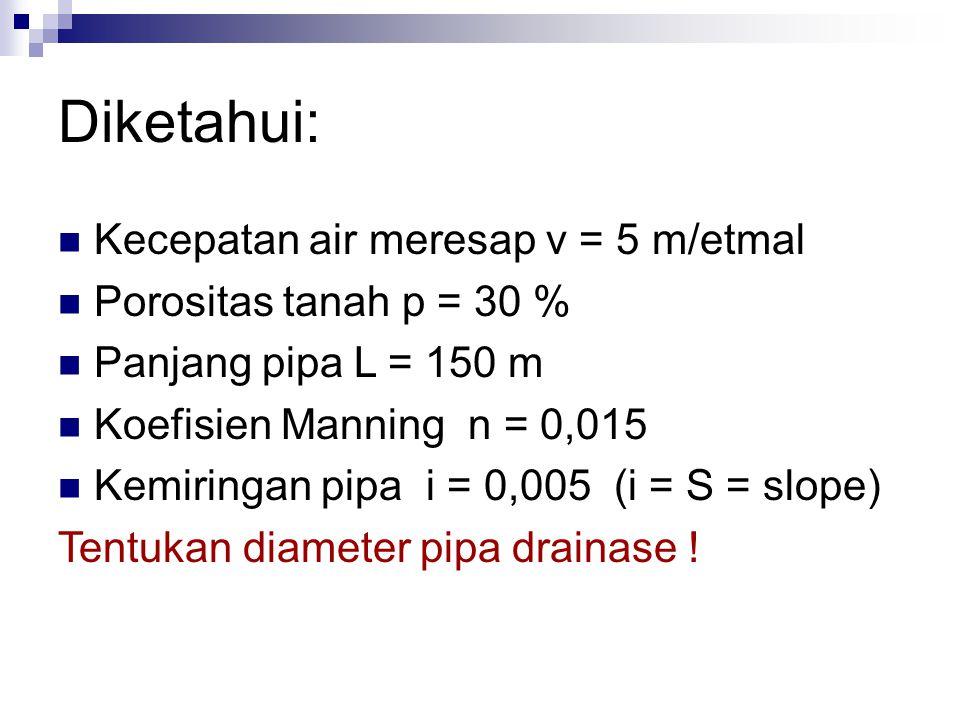 Diketahui: Kecepatan air meresap v = 5 m/etmal