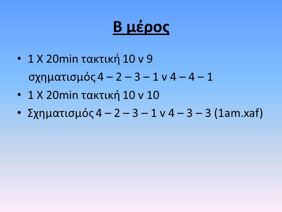 Β μέρος 1 Χ 20min τακτική 10 v 9 σχηματισμός 4 – 2 – 3 – 1 v 4 – 4 – 1